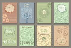 Vector set of eco nature labels or business card templates. Flyers designs for organic, natural, healthy products. Ecological posters vector illustration