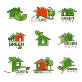 Vector set of ecological homes, green leaves and trees for your. Logo signs and icons Stock Photo