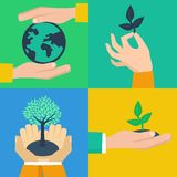 Vector set of ecology concepts. Hands holding sprouts in flat retro style Stock Images