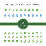 Vector set of 50 ecology icons, nature logo Royalty Free Stock Photos