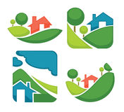Vector set of ecology village signs, symbols and icons. Vector set of ecology, nature, house and homes signs and icons Stock Image