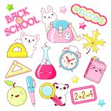 Vector set of education icons in kawaii style stock illustration