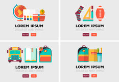 Vector set of education logos in flat style. Colorful back to school emblem. Design elements Royalty Free Stock Image