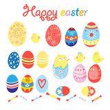 Vector set of eggs and chicks for Easter Royalty Free Stock Image