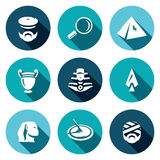 Vector Set of Egypt Icons. Archaeology, Search, Research, Monument, Craft, Treasure, Weapon, Time, Shrine. Royalty Free Stock Photography