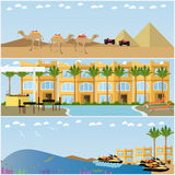 Vector set of egyptian resorts and famous places flat posters Royalty Free Stock Photography
