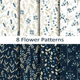 Vector set of eight seamless vector flower patterns. With blue field flowers Stock Photo