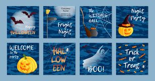 Vector set of eight square postcards, invitations or banners. Halloween theme. Traditional holiday symbols and inscriptions. Jack. O lantern, ghost, witch hat Stock Photography