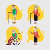 Vector set of elderly characters. Older people set. Grandparents. Linear flat design. Stock Photography
