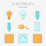 Vector set of electricity icons, including tools. Stock Images