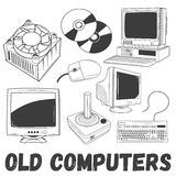 Vector set of electronic products and old computers objects in vintage style. Technology concept illustration. Design Royalty Free Stock Images