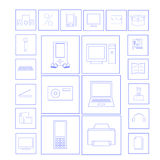 Vector set of electronics icons. Illustration of vector set of electronics icons Stock Image