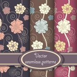 Vector set of elegant floral patterns Stock Photo