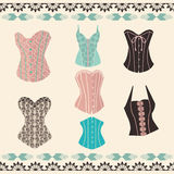 Vector of set elegant retro style corsets. Stock Photo