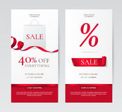Vector Set of elegant vertical banners with paper shopping bag and red ribbons. Set of elegant vertical banners with paper shopping bag and red ribbons. Vector Royalty Free Stock Image