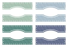 Vector set of elegant web buttons, tags or labels. Elegant modern web buttons, tags or labels in green and blue colors. Sweet background with white strips and Stock Photography