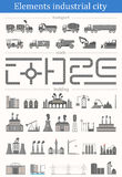 Vector set of elements industrial city - buildings, roads and tr. Vector Set include: Industrial Buildings, Cars, Roads and other Urban Objects and Elements Stock Image