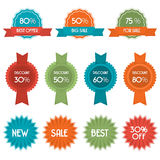 Vector set of eleven discount badges and labels Royalty Free Stock Images