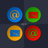 Vector set of email icon. Royalty Free Stock Photography