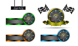 Vector set of emblem gauge racing sports concept Stock Photo