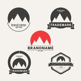 Vector set of emblems associated with mountains Royalty Free Stock Image