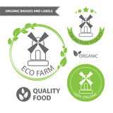Vector set emblems of eco farm and natural food. Organic badges and labels Stock Images