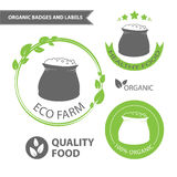 Vector set emblems of eco farm and natural food. Organic badges and labels. Vector illustration Royalty Free Stock Images