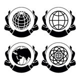 Vector  set of emblems Globes Stock Images