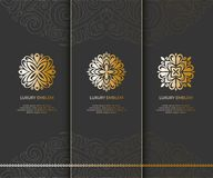 Vector set of emblems with golden flowers. Can be used for jewelry, beauty and fashion industry. Great for logo, monogram, invitation, flyer, menu, brochure Stock Images