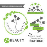 Vector set emblems of natural and organic cosmetics. Organic badges and labels. Vector illustration Stock Images