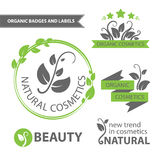 Vector set emblems of natural and organic cosmetics. Organic badges and labels. Vector illustration Royalty Free Stock Photo
