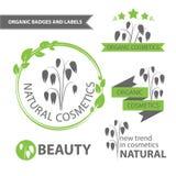 Vector set emblems of natural and organic cosmetics. Organic badges and labels. Vector illustration Stock Photos