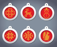 Vector set of embroidered with New Year balls. Vector set of embroidered New Year balls in gray background Royalty Free Illustration