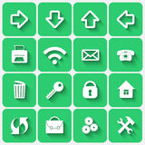 Vector Set of Emerald Green Flat Style Square Buttons Royalty Free Stock Photography
