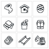 Vector Set of Emergency Service Icons. Hurricane, Earthquake, Victim, Homeless, President, Lifeguard, Financing Stock Photo