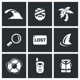 Vector Set of Emergency Service Icons. Tsunami, Victim, Island, Looking, Loss, Ocean, Lifebuoy, Portable Radio Stock Photo