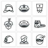 Vector Set of Emergency Services Icons. Firefighter, Police, Ambulance, Food delivery, Taxi, Tow, Rescue, Escort. Helmet, Cap, Nurse, Chinese noodles Car Royalty Free Stock Image