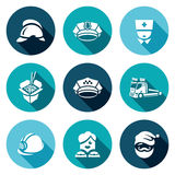 Vector Set of Emergency Services Icons. Firefighter, Police, Ambulance, Food delivery, Taxi, Tow, Rescue, Escort. Helmet, Cap, Nurse, Chinese noodles Car Royalty Free Stock Photography
