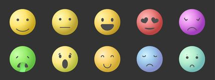 Vector set of Emoticons. Set of Emoji. Smile gradient style illustrations stock illustration