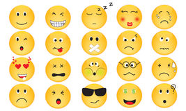 Vector Set of Emotion Icons. Yellow emotion icons in various mood vector illustration