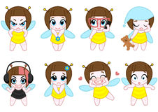 Vector set of emotions.  Bee character Stock Image