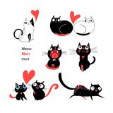 Vector set of enamored cats. On white background Stock Photography