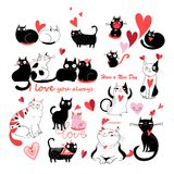 Vector set of enamored cats Royalty Free Stock Photography