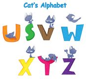 Vector set of english alphabet. With fun cartoon cat who is engaged in his cat affairs. The first set of four Stock Photography