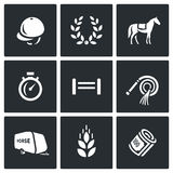 Vector Set of Equestrian Sport Icons Royalty Free Stock Photo