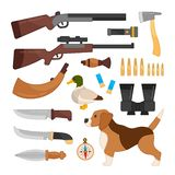 Vector set of equipment for hunting. vector illustration