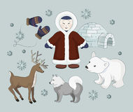 Vector set of eskimo characters. With igloo house, dog, white bear and penguins. People in traditional eskimos costume and arctic animals Royalty Free Stock Photography