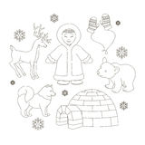 Vector set of eskimo characters Royalty Free Stock Image
