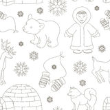 Vector set of eskimo characters pattern Stock Image