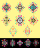 Vector set of ethno geometric patterns. Elements for design. Stock Image